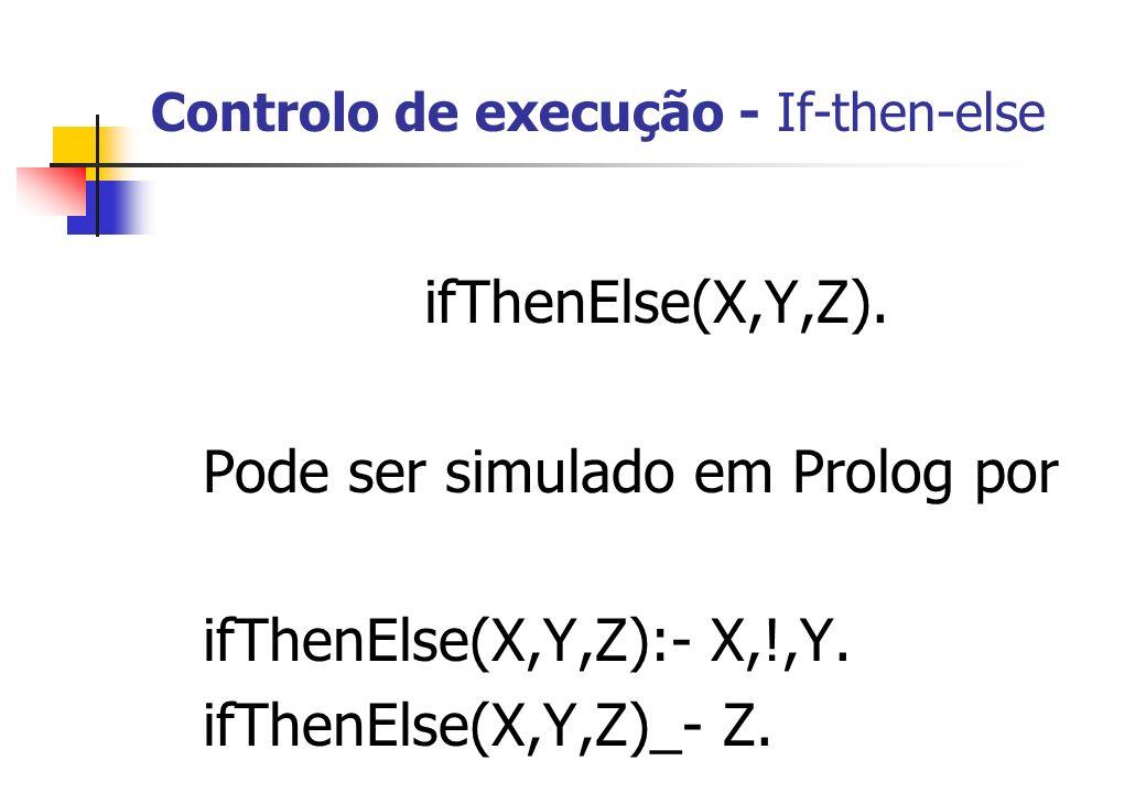 Controlo de execução - If-then-else ifThenElse(X,Y,Z). Pode ser simulado em Prolog por ifThenElse(X,Y,Z):- X,!,Y. ifThenElse(X,Y,Z)_- Z. Exemplo ?- if