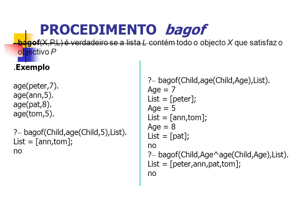 PROCEDIMENTO bagof.Exemplo age(peter,7). age(ann,5). age(pat,8). age(tom,5). ? bagof(Child,age(Child,5),List). List = [ann,tom]; no ? bagof(Child,age(
