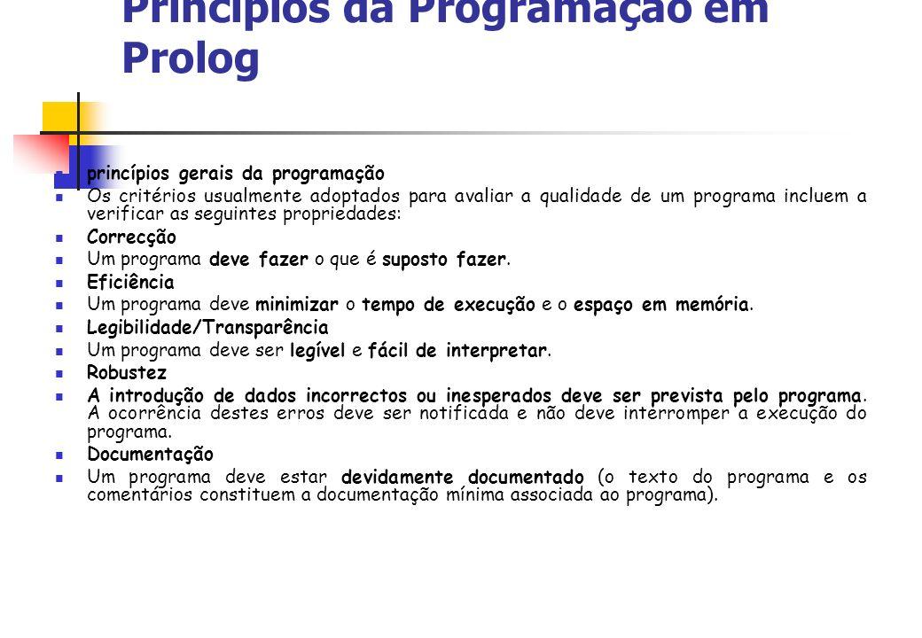 Princípios da Programação em Prolog princípios gerais da programação Os critérios usualmente adoptados para avaliar a qualidade de um programa incluem a verificar as seguintes propriedades: Correcção Um programa deve fazer o que é suposto fazer.