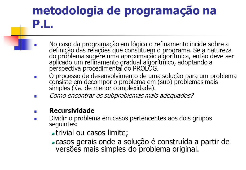 metodologia de programação na P.L. No caso da programação em lógica o refinamento incide sobre a definição das relações que constituem o programa. Se