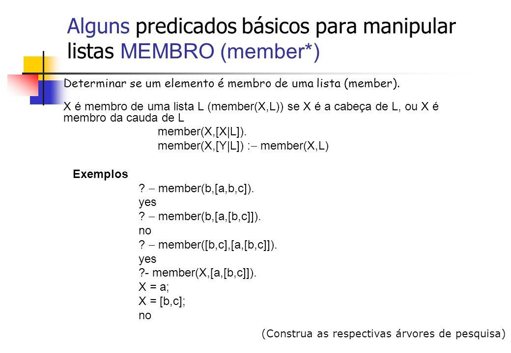 Alguns predicados básicos para manipular listas CONCATENAÇÃO (append*) append(L,M,N) - N é a concatenação de L e M se L é vazia, N é igual a M; se L não é vazia, N é igual à lista cuja cabeça é a cabeça de L e cauda igual à concatenação da cauda de L com a lista M.