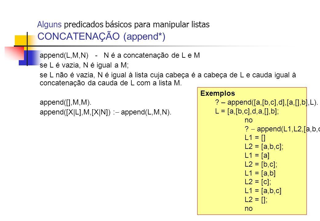 Alguns predicados básicos para manipular listas CONCATENAÇÃO (append*) append(L,M,N) - N é a concatenação de L e M se L é vazia, N é igual a M; se L n