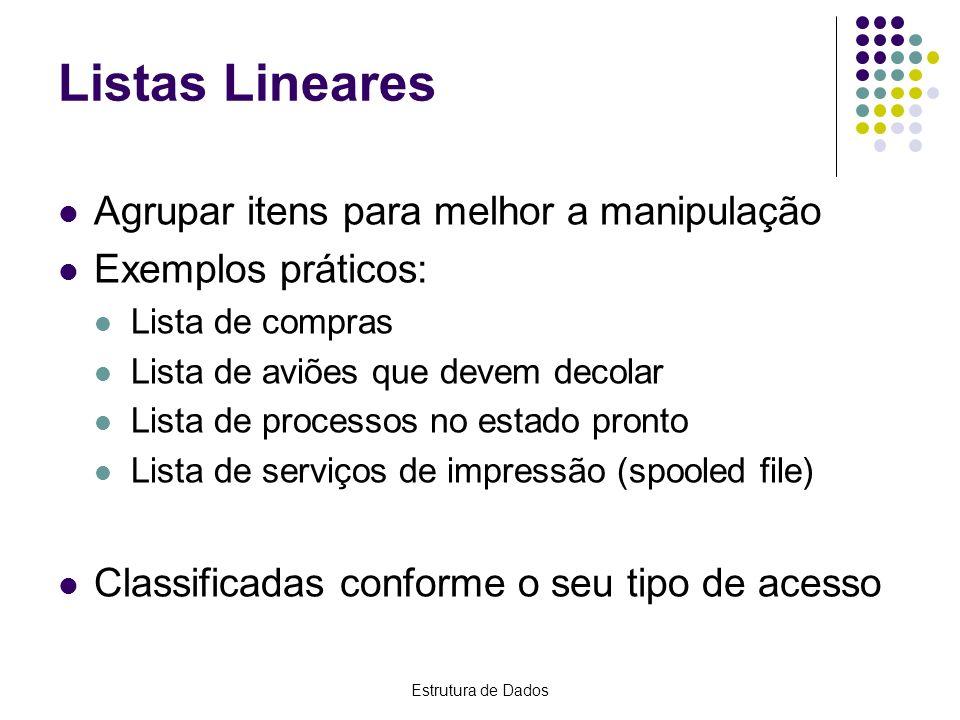 Listas Lineares Agrupar itens para melhor a manipulação Exemplos práticos: Lista de compras Lista de aviões que devem decolar Lista de processos no es