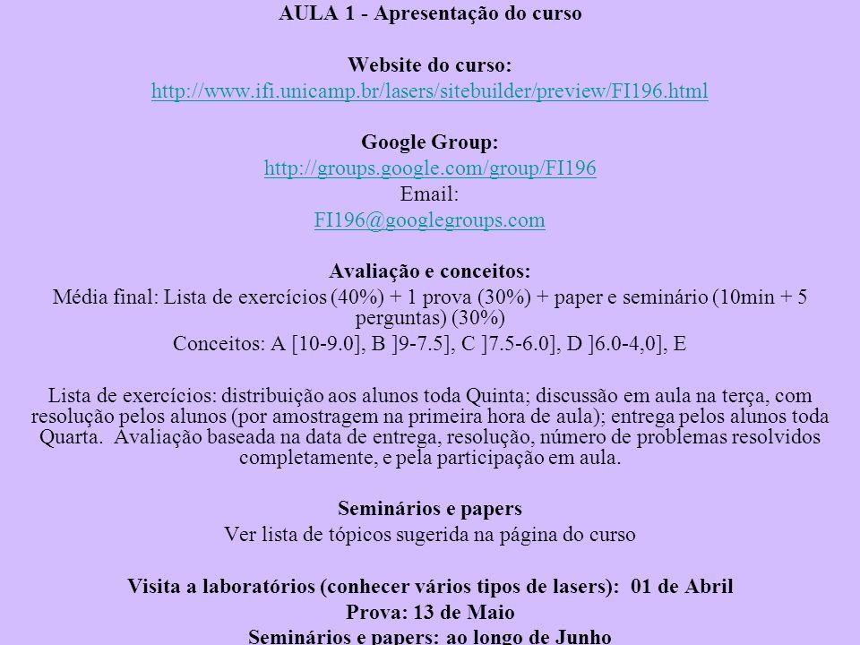 AULA 1 - Apresentação do curso Website do curso: http://www.ifi.unicamp.br/lasers/sitebuilder/preview/FI196.html Google Group: http://groups.google.co