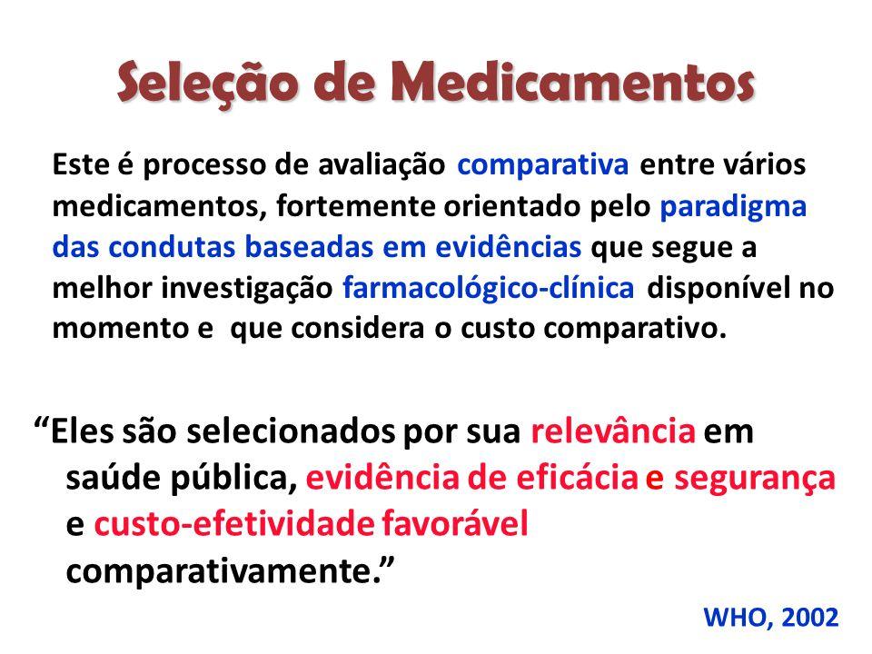 Seleção de Medicamentos Este é processo de avaliação comparativa entre vários medicamentos, fortemente orientado pelo paradigma das condutas baseadas em evidências que segue a melhor investigação farmacológico-clínica disponível no momento e que considera o custo comparativo.