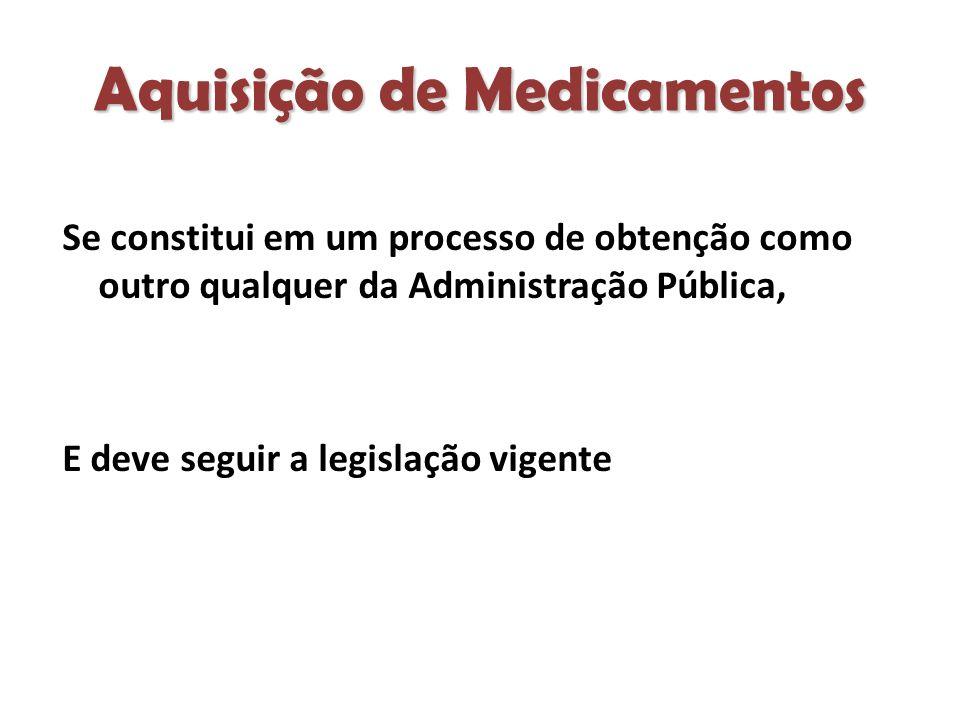 Aquisição de Medicamentos Se constitui em um processo de obtenção como outro qualquer da Administração Pública, E deve seguir a legislação vigente