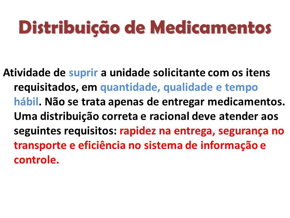 Distribuição de Medicamentos Atividade de suprir a unidade solicitante com os itens requisitados, em quantidade, qualidade e tempo hábil.