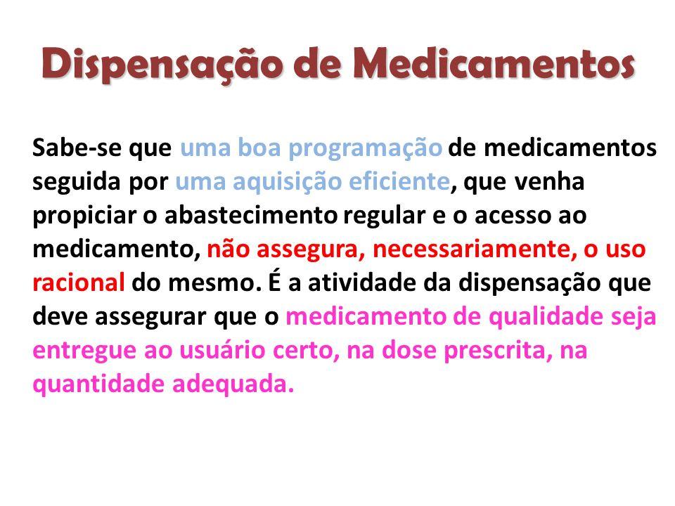 Dispensação de Medicamentos Sabe-se que uma boa programação de medicamentos seguida por uma aquisição eficiente, que venha propiciar o abastecimento regular e o acesso ao medicamento, não assegura, necessariamente, o uso racional do mesmo.