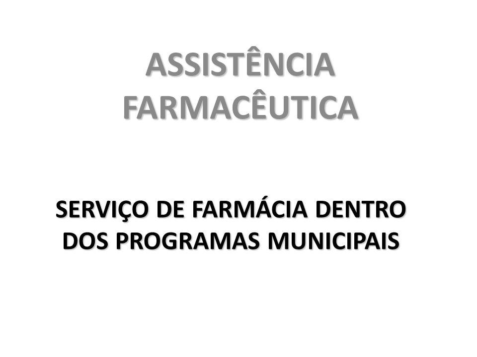 SERVIÇO DE FARMÁCIA DENTRO DOS PROGRAMAS MUNICIPAIS ASSISTÊNCIA FARMACÊUTICA