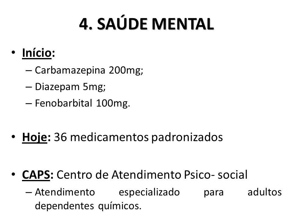 4.SAÚDE MENTAL Início: – Carbamazepina 200mg; – Diazepam 5mg; – Fenobarbital 100mg.