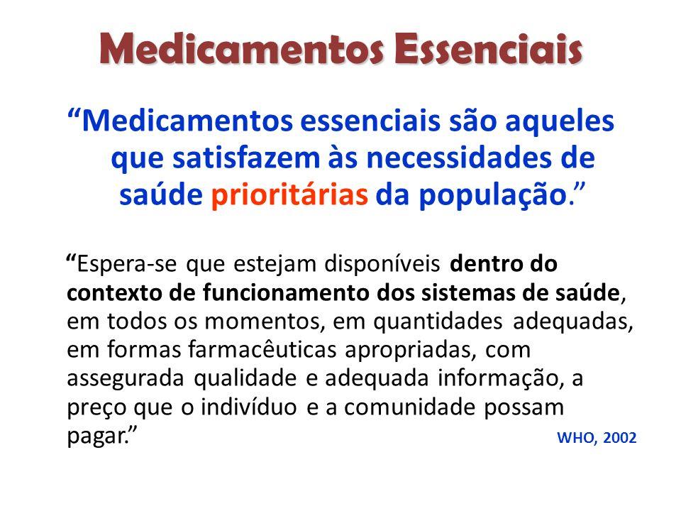 Medicamentos Essenciais Medicamentos essenciais são aqueles que satisfazem às necessidades de saúde prioritárias da população.