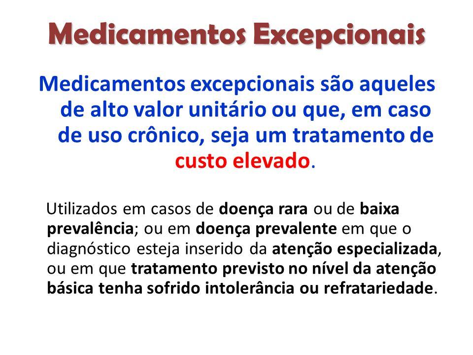 Medicamentos Excepcionais Medicamentos excepcionais são aqueles de alto valor unitário ou que, em caso de uso crônico, seja um tratamento de custo elevado.