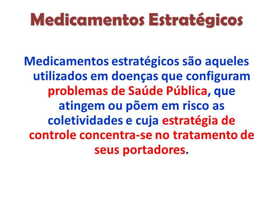 Medicamentos Estratégicos Medicamentos estratégicos são aqueles utilizados em doenças que configuram problemas de Saúde Pública, que atingem ou põem em risco as coletividades e cuja estratégia de controle concentra-se no tratamento de seus portadores.