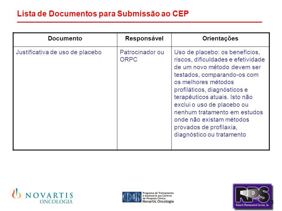 13 Lista de Documentos para Submissão ao CEP ________________________________________________________ DocumentoResponsávelOrientações Justificativa de