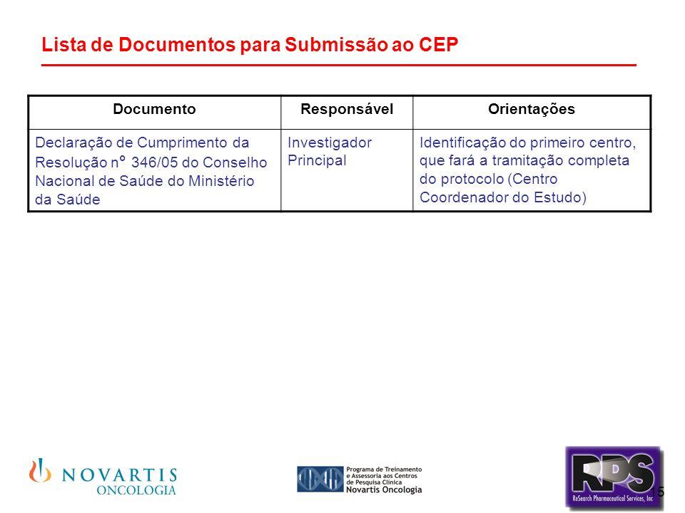15 Lista de Documentos para Submissão ao CEP ________________________________________________________ DocumentoResponsávelOrientações Declaração de Cumprimento da Resolução n ° 346/05 do Conselho Nacional de Saúde do Ministério da Saúde Investigador Principal Identificação do primeiro centro, que fará a tramitação completa do protocolo (Centro Coordenador do Estudo)
