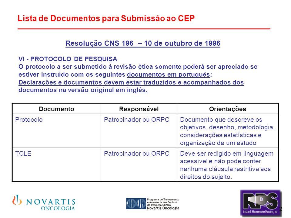 2 Lista de Documentos para Submissão ao CEP ________________________________________________________ Resolução CNS 196 – 10 de outubro de 1996 VI - PROTOCOLO DE PESQUISA O protocolo a ser submetido à revisão ética somente poderá ser apreciado se estiver instruído com os seguintes documentos em português: Declarações e documentos devem estar traduzidos e acompanhados dos documentos na versão original em inglês.