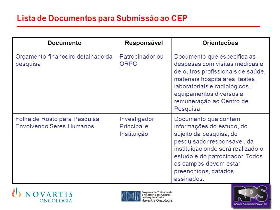 3 Lista de Documentos para Submissão ao CEP ________________________________________________________ DocumentoResponsávelOrientações Orçamento financeiro detalhado da pesquisa Patrocinador ou ORPC Documento que especifica as despesas com visitas médicas e de outros profissionais de saúde, materiais hospitalares, testes laboratoriais e radiológicos, equipamentos diversos e remuneração ao Centro de Pesquisa Folha de Rosto para Pesquisa Envolvendo Seres Humanos Investigador Principal e Instituição Documento que contém informações do estudo, do sujeito da pesquisa, do pesquisador responsável, da instituição onde será realizado o estudo e do patrocinador.