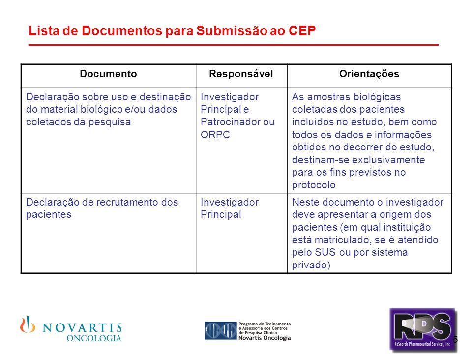 5 Lista de Documentos para Submissão ao CEP ________________________________________________________ DocumentoResponsávelOrientações Declaração sobre uso e destinação do material biológico e/ou dados coletados da pesquisa Investigador Principal e Patrocinador ou ORPC As amostras biológicas coletadas dos pacientes incluídos no estudo, bem como todos os dados e informações obtidos no decorrer do estudo, destinam-se exclusivamente para os fins previstos no protocolo Declaração de recrutamento dos pacientes Investigador Principal Neste documento o investigador deve apresentar a origem dos pacientes (em qual instituição está matriculado, se é atendido pelo SUS ou por sistema privado)