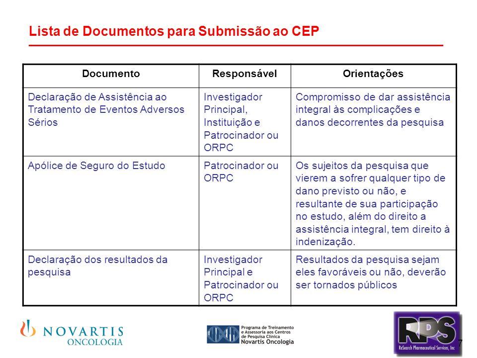 7 Lista de Documentos para Submissão ao CEP ________________________________________________________ DocumentoResponsávelOrientações Declaração de Assistência ao Tratamento de Eventos Adversos Sérios Investigador Principal, Instituição e Patrocinador ou ORPC Compromisso de dar assistência integral às complicações e danos decorrentes da pesquisa Apólice de Seguro do EstudoPatrocinador ou ORPC Os sujeitos da pesquisa que vierem a sofrer qualquer tipo de dano previsto ou não, e resultante de sua participação no estudo, além do direito a assistência integral, tem direito à indenização.