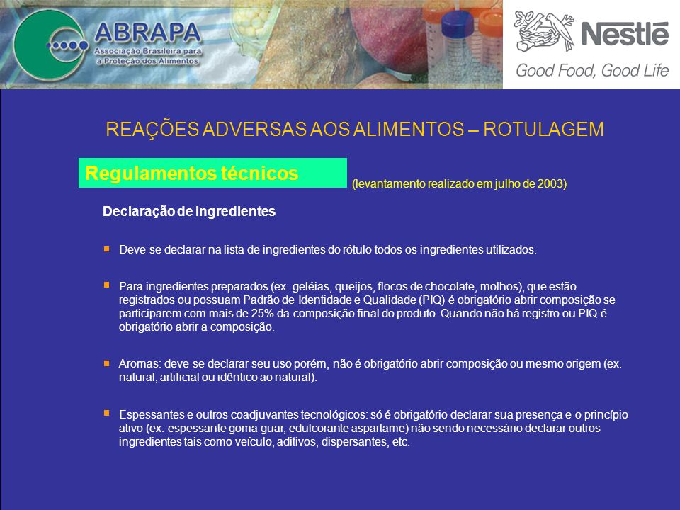 Declaração de ingredientes Regulamentos técnicos (levantamento realizado em julho de 2003) Para ingredientes preparados (ex.