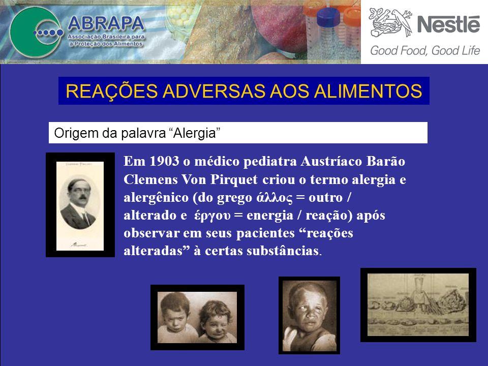 Em 1903 o médico pediatra Austríaco Barão Clemens Von Pirquet criou o termo alergia e alergênico (do grego άλλος = outro / alterado e έργου = energia / reação) após observar em seus pacientes reações alteradas à certas substâncias.