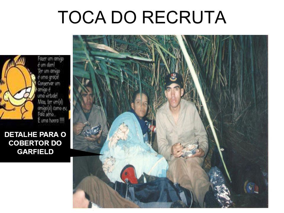 TOCA DO RECRUTA DETALHE PARA O COBERTOR DO GARFIELD