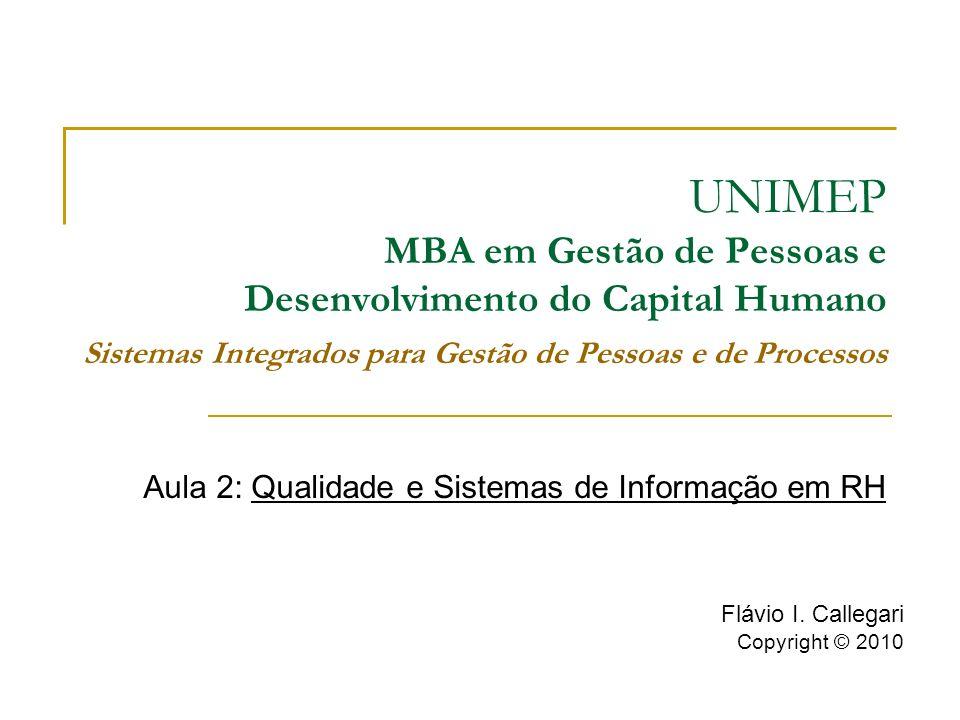 UNIMEP MBA em Gestão de Pessoas e Desenvolvimento do Capital Humano Sistemas Integrados para Gestão de Pessoas e de Processos Aula 2: Qualidade e Sistemas de Informação em RH Flávio I.