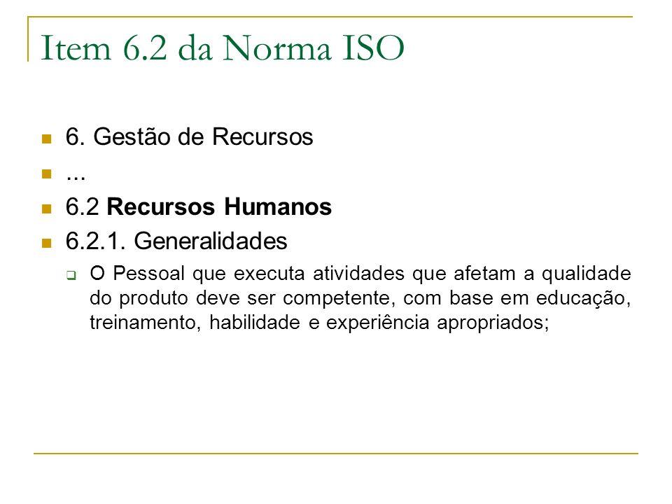 Item 6.2 da Norma ISO 6.Gestão de Recursos... 6.2 Recursos Humanos 6.2.1.