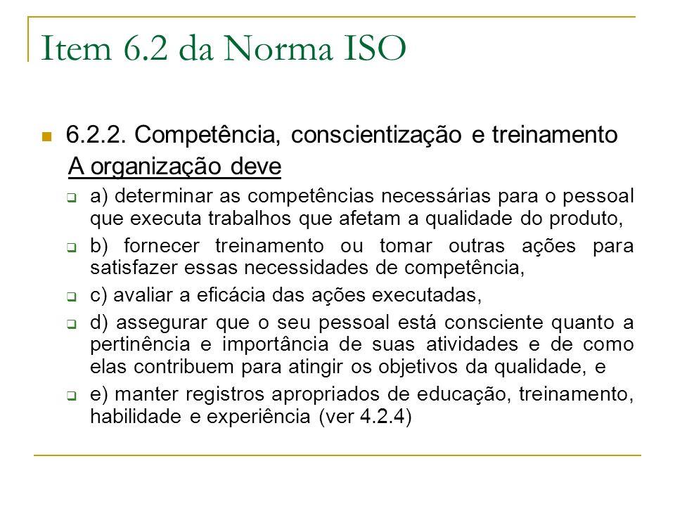 Item 6.2 da Norma ISO 6.2.2.