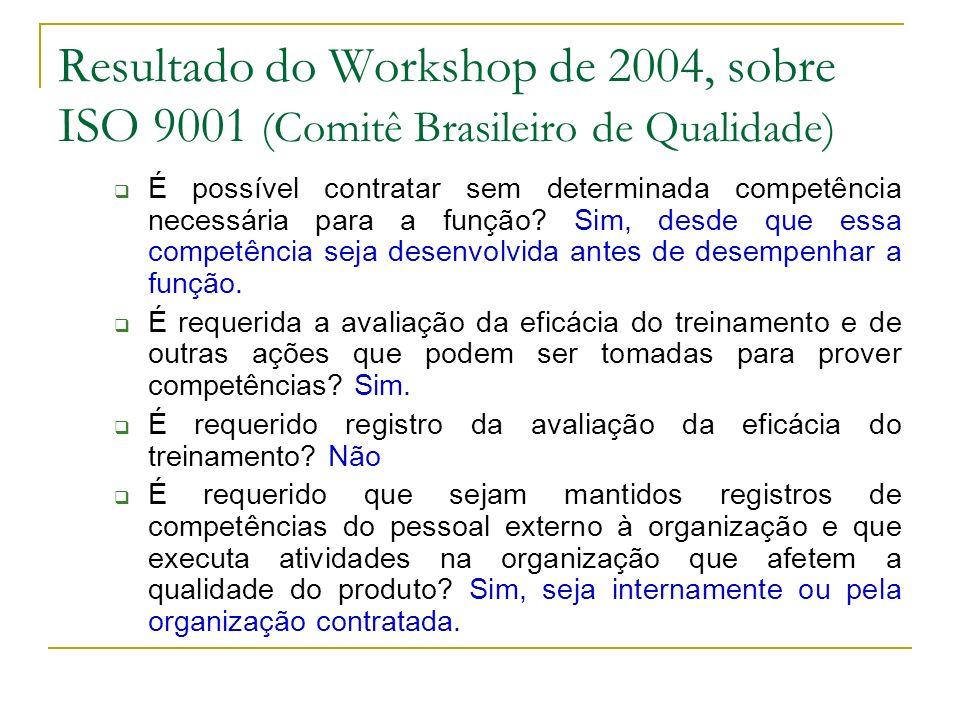 Resultado do Workshop de 2004, sobre ISO 9001 (Comitê Brasileiro de Qualidade) É possível contratar sem determinada competência necessária para a função.