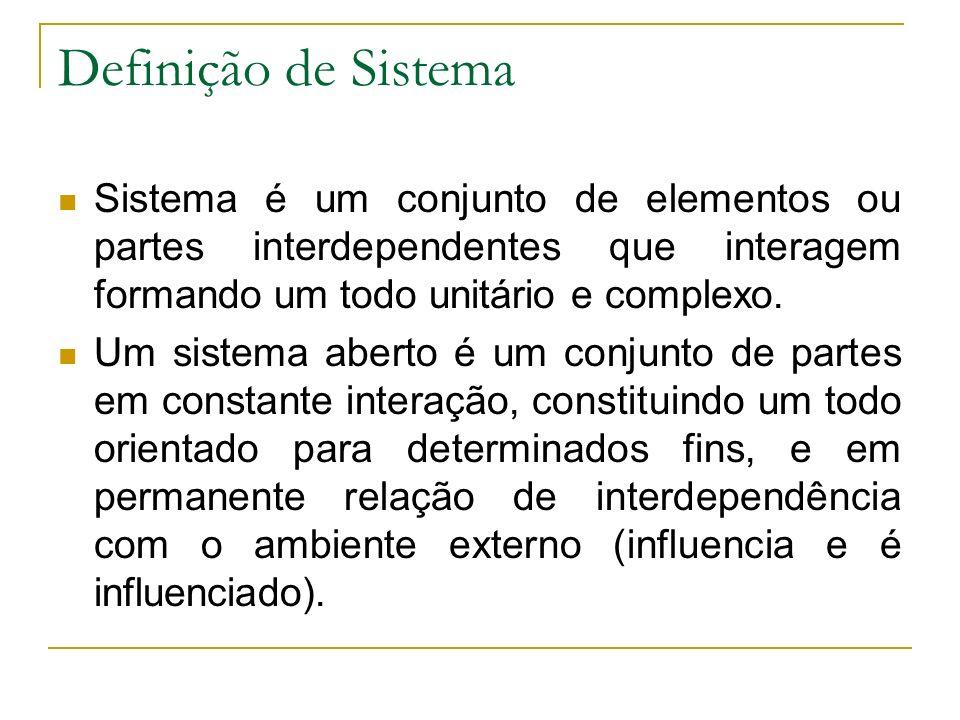 Definição de Sistema Sistema é um conjunto de elementos ou partes interdependentes que interagem formando um todo unitário e complexo.