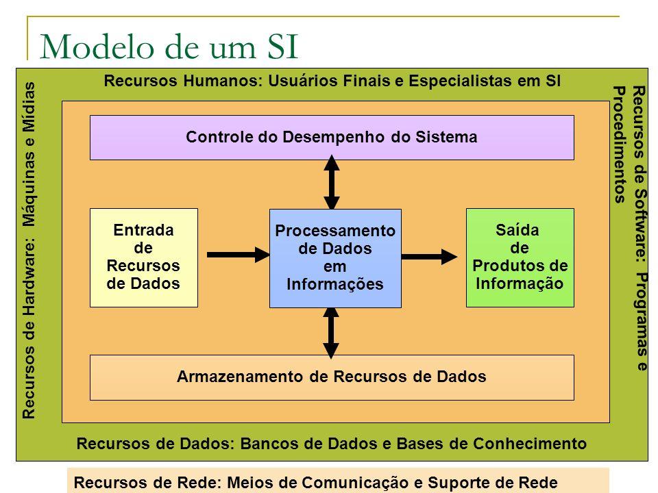 Entrada de Recursos de Dados Saída de Produtos de Informação Recursos Humanos: Usuários Finais e Especialistas em SI Recursos de Dados: Bancos de Dados e Bases de Conhecimento Controle do Desempenho do Sistema Armazenamento de Recursos de Dados Recursos de Hardware: Máquinas e Mídias Recursos de Rede: Meios de Comunicação e Suporte de Rede Recursos de Software: Programas e Procedimentos Processamento de Dados em Informações Modelo de um SI