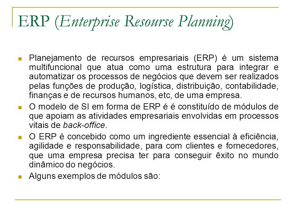 ERP (Enterprise Resourse Planning) Planejamento de recursos empresariais (ERP) é um sistema multifuncional que atua como uma estrutura para integrar e automatizar os processos de negócios que devem ser realizados pelas funções de produção, logística, distribuição, contabilidade, finanças e de recursos humanos, etc, de uma empresa.