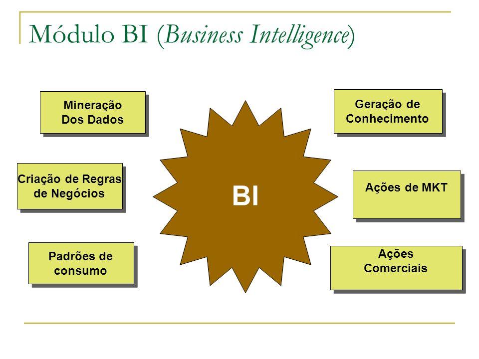 Módulo BI (Business Intelligence) BI Ações Comerciais Ações Comerciais Mineração Dos Dados Mineração Dos Dados Criação de Regras de Negócios Criação de Regras de Negócios Geração de Conhecimento Geração de Conhecimento Padrões de consumo Padrões de consumo Ações de MKT