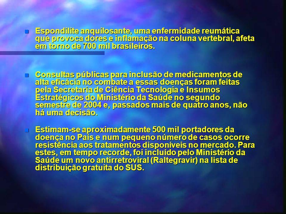 n Espondilite anquilosante, uma enfermidade reumática que provoca dores e inflamação na coluna vertebral, afeta em torno de 700 mil brasileiros. n Con