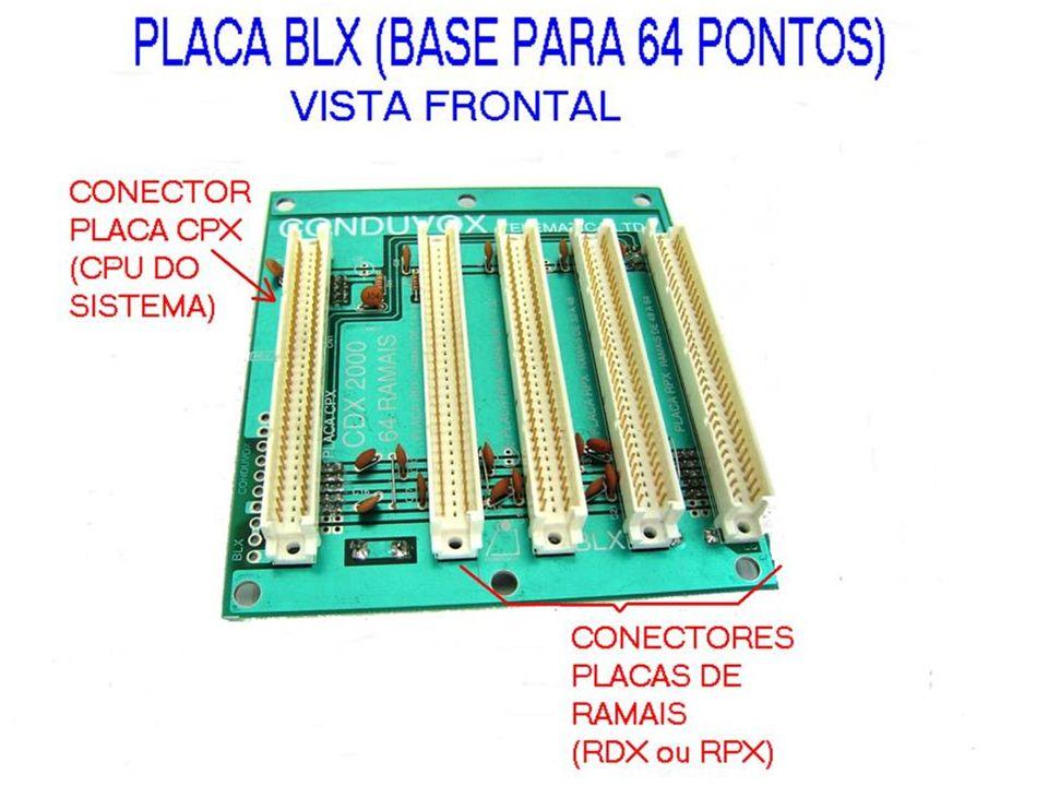 BLX - BASE PARA 4 PLACAS DE RAMAIS DE TELEFONE (64 RAMAIS) - POSSIBILITA ACOPLAR PLACA PTX CDX 2000