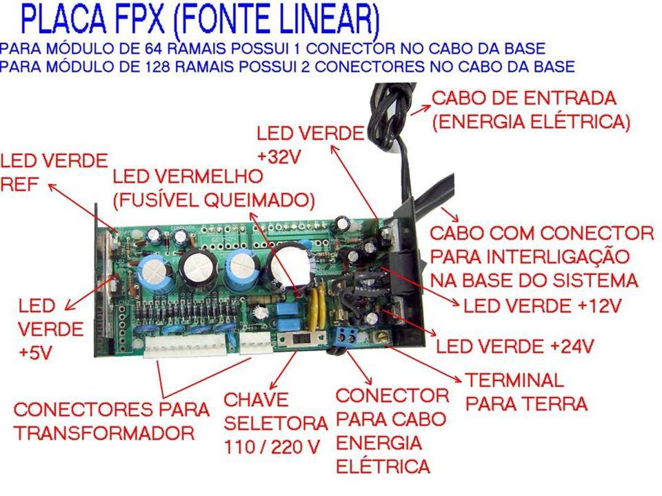 FPX - FONTE DE ALIMENTAÇÃO PARA O EQUIPAMENTO - FONTE LINEAR PARA ATÉ 128 PONTOS - ENTRADA = 110Vac / 220Vac (COM CHAVE P/ SELEÇÃO) - SAIDAS: +5Vdc /