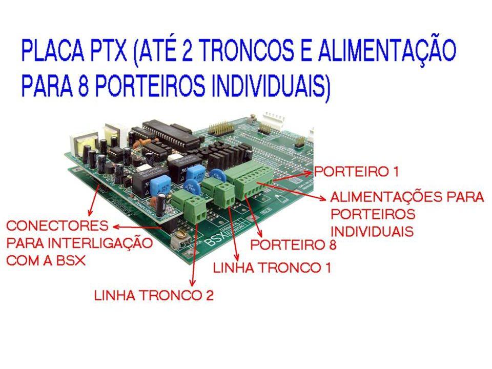 PTX - 2 POSIÇÕES PARA LINHAS TRONCOS - 8 POSIÇÕES PARA PORTEIRO INDIVIDUAL - CONECTADA NA PLACA BSX OU BLX