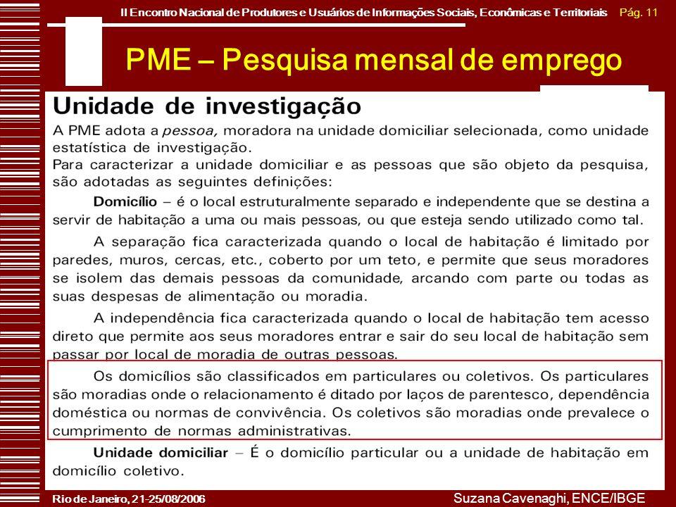 Pág. 11II Encontro Nacional de Produtores e Usuários de Informações Sociais, Econômicas e Territoriais Rio de Janeiro, 21-25/08/2006 Suzana Cavenaghi,
