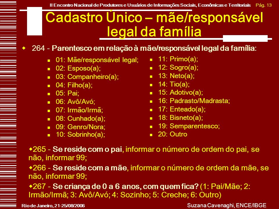 Pág. 13II Encontro Nacional de Produtores e Usuários de Informações Sociais, Econômicas e Territoriais Rio de Janeiro, 21-25/08/2006 Suzana Cavenaghi,