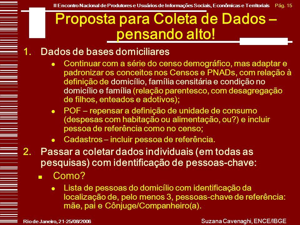 Pág. 15II Encontro Nacional de Produtores e Usuários de Informações Sociais, Econômicas e Territoriais Rio de Janeiro, 21-25/08/2006 Suzana Cavenaghi,