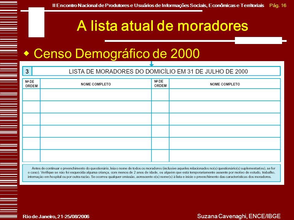 Pág. 16II Encontro Nacional de Produtores e Usuários de Informações Sociais, Econômicas e Territoriais Rio de Janeiro, 21-25/08/2006 Suzana Cavenaghi,