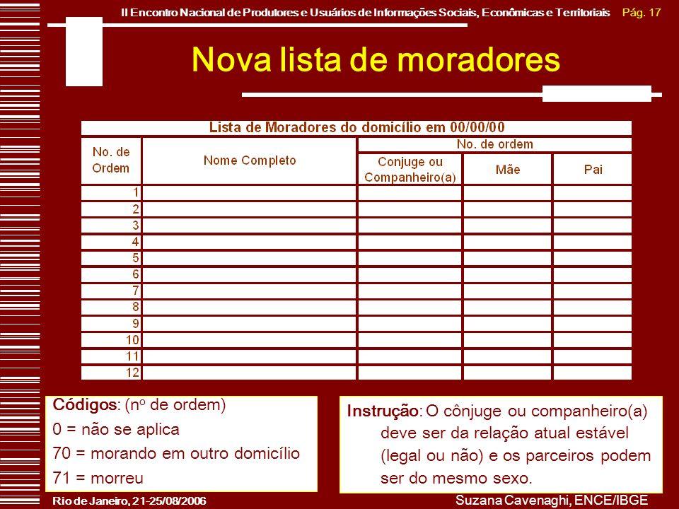 Pág. 17II Encontro Nacional de Produtores e Usuários de Informações Sociais, Econômicas e Territoriais Rio de Janeiro, 21-25/08/2006 Suzana Cavenaghi,