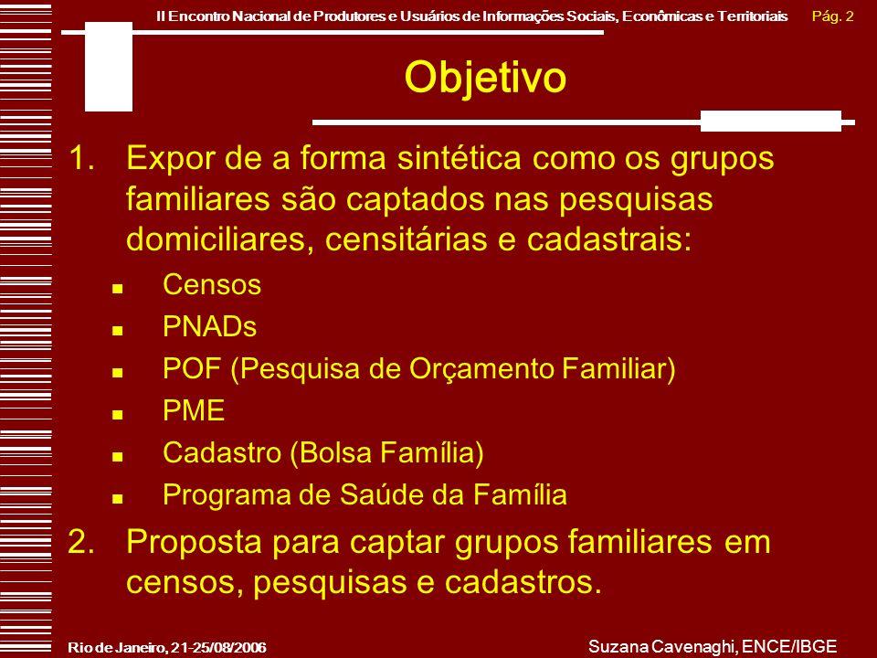 Pág. 2II Encontro Nacional de Produtores e Usuários de Informações Sociais, Econômicas e Territoriais Rio de Janeiro, 21-25/08/2006 Suzana Cavenaghi,