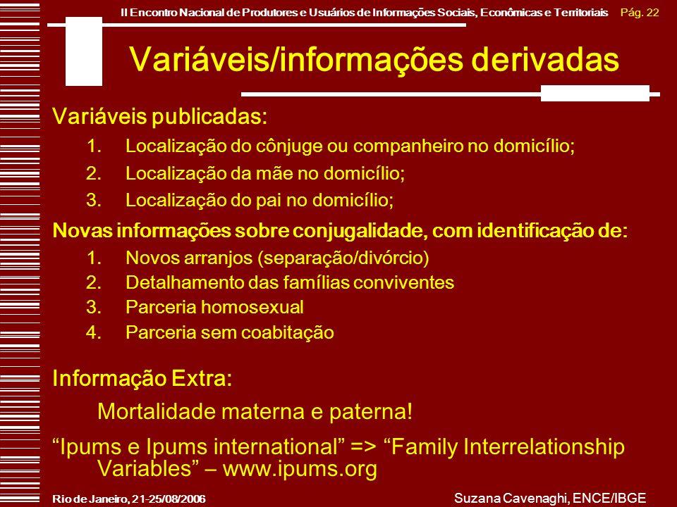Pág. 22II Encontro Nacional de Produtores e Usuários de Informações Sociais, Econômicas e Territoriais Rio de Janeiro, 21-25/08/2006 Suzana Cavenaghi,