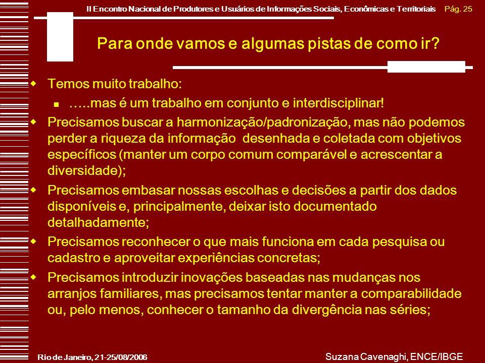 Pág. 25II Encontro Nacional de Produtores e Usuários de Informações Sociais, Econômicas e Territoriais Rio de Janeiro, 21-25/08/2006 Suzana Cavenaghi,
