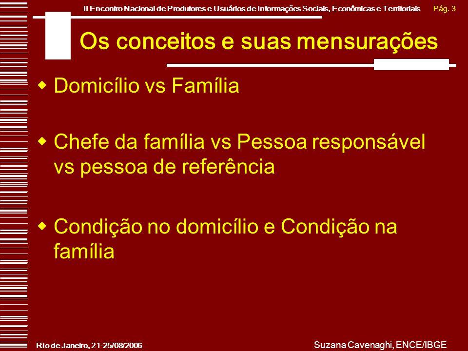 Pág. 3II Encontro Nacional de Produtores e Usuários de Informações Sociais, Econômicas e Territoriais Rio de Janeiro, 21-25/08/2006 Suzana Cavenaghi,