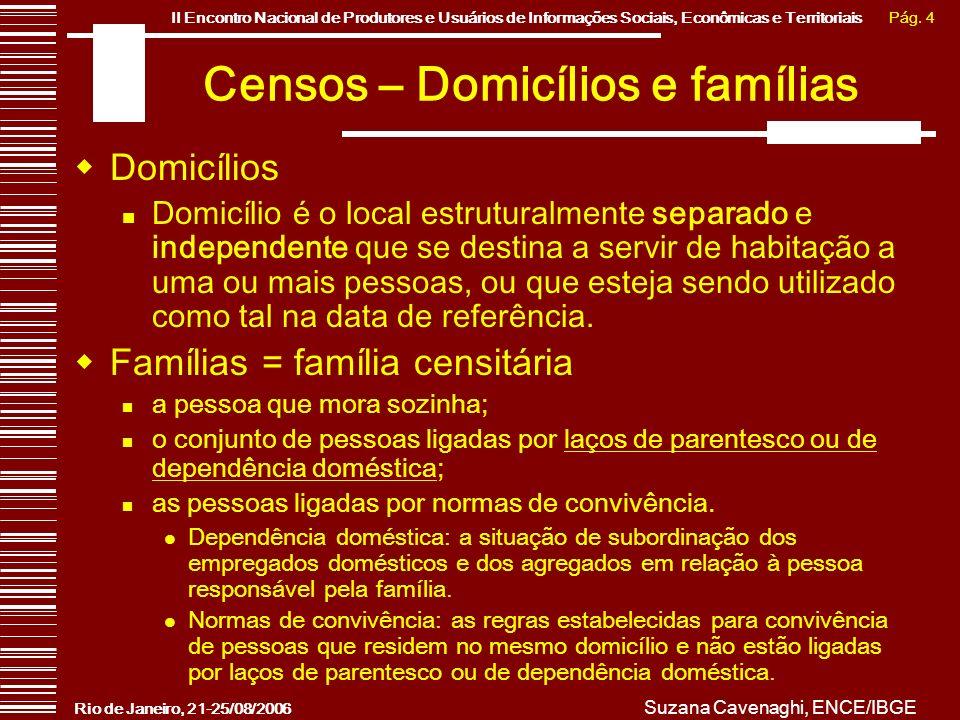 Pág. 4II Encontro Nacional de Produtores e Usuários de Informações Sociais, Econômicas e Territoriais Rio de Janeiro, 21-25/08/2006 Suzana Cavenaghi,