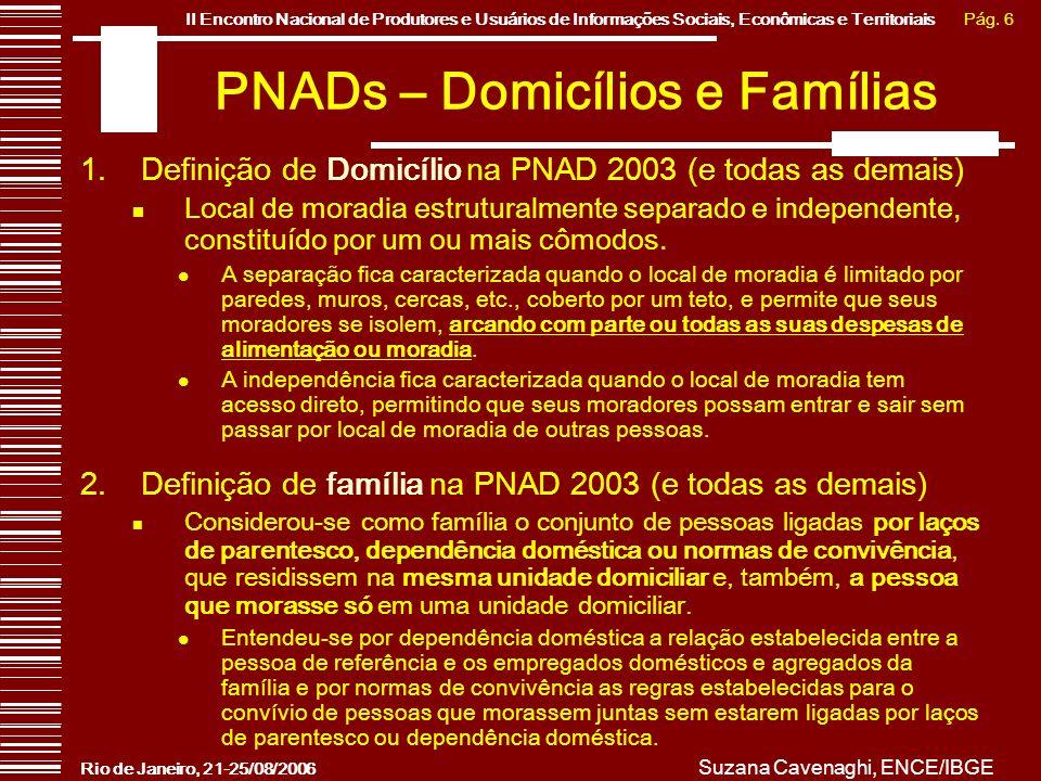 Pág. 6II Encontro Nacional de Produtores e Usuários de Informações Sociais, Econômicas e Territoriais Rio de Janeiro, 21-25/08/2006 Suzana Cavenaghi,