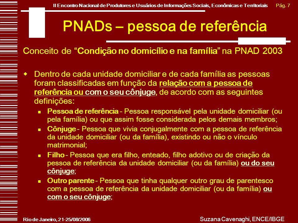 Pág. 7II Encontro Nacional de Produtores e Usuários de Informações Sociais, Econômicas e Territoriais Rio de Janeiro, 21-25/08/2006 Suzana Cavenaghi,
